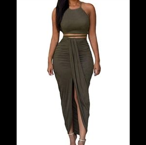 Dresses & Skirts - Two piece Faux Suede Olive Maxi
